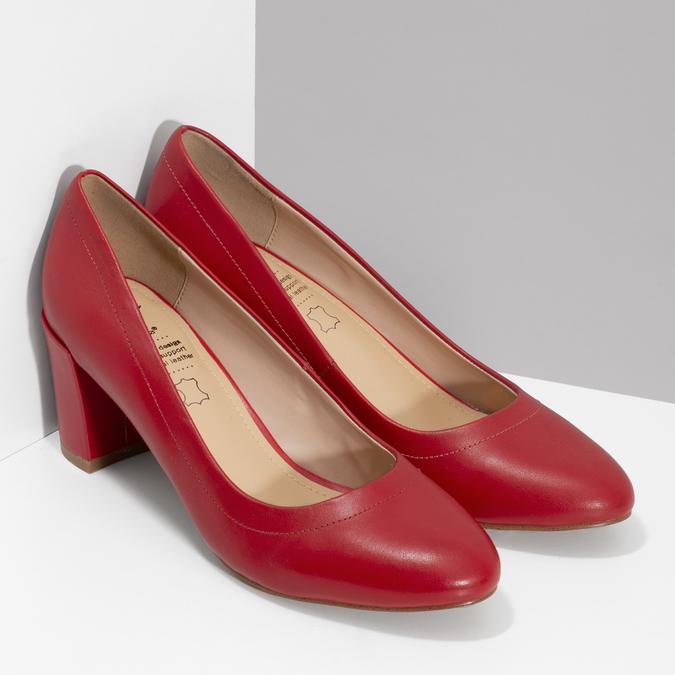 Kožené červené lodičky na stabilním podpatku insolia, červená, 624-5646 - 26