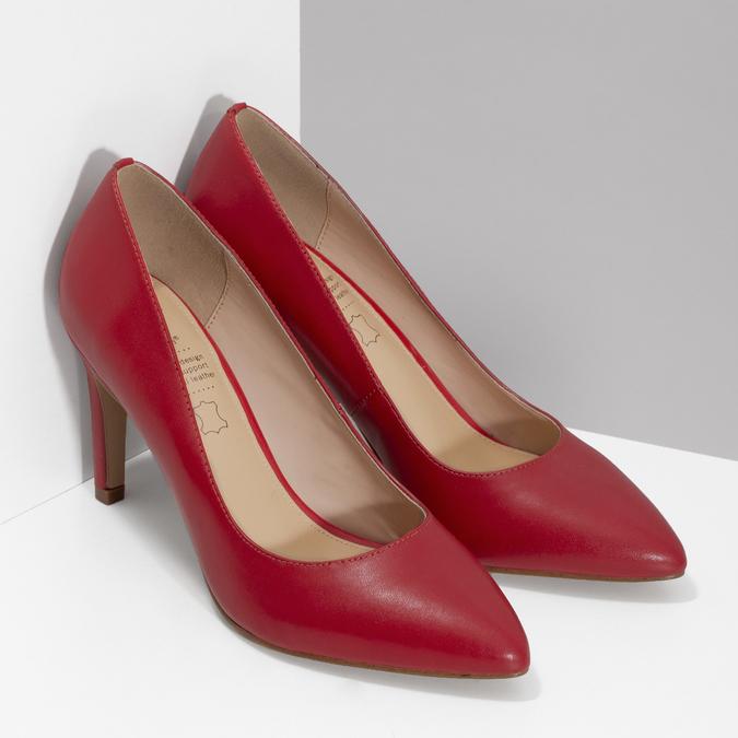 Červené kožené dámské lodičky na jehlovém podpatku insolia, červená, 724-5661 - 26