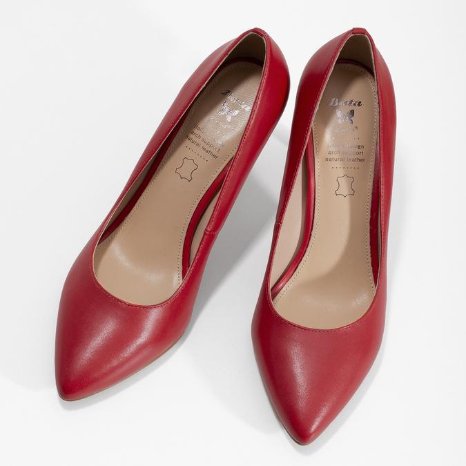 Červené kožené dámské lodičky na jehlovém podpatku insolia, červená, 724-5661 - 16