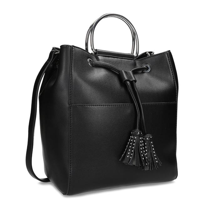 Černá kabelka se střapcem a kovovými uchy bata, černá, 961-6930 - 13