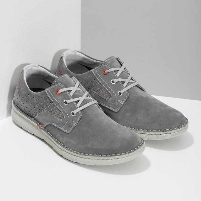 Pánské šedé tenisky z broušené kůže bata, šedá, 823-2640 - 26
