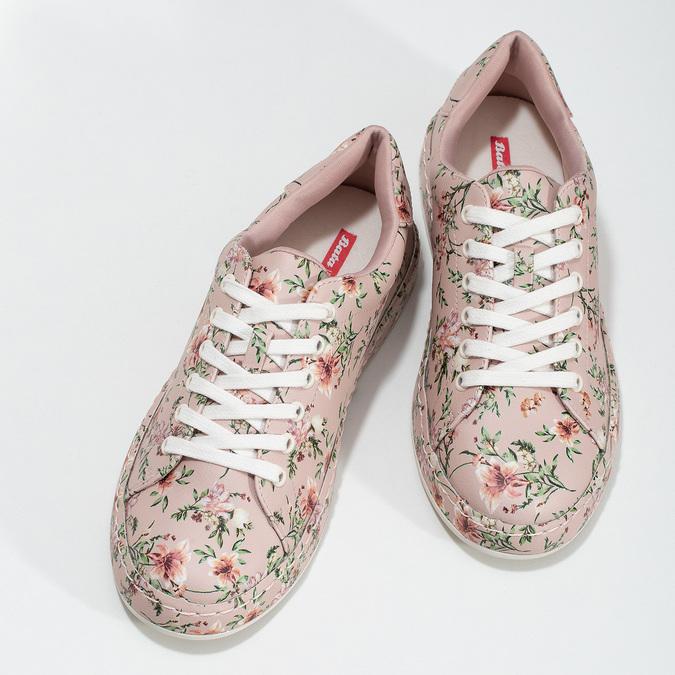 Květované dámské tenisky růžové bata-red-label, růžová, 541-5606 - 16