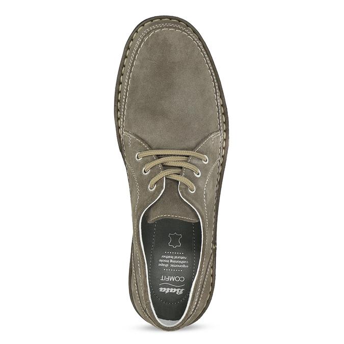 Pánské tenisky z broušené kůže zelené comfit, šedá, 843-8650 - 17