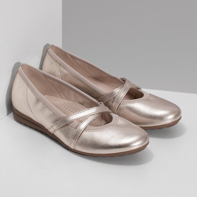 Zlaté kožené dámské baleríny šíře G gabor, zlatá, 528-8636 - 26