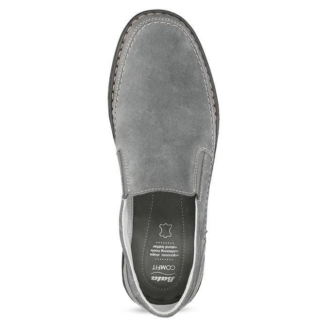 Pánské mokasíny z šedé broušené kůže comfit, šedá, 833-2651 - 17