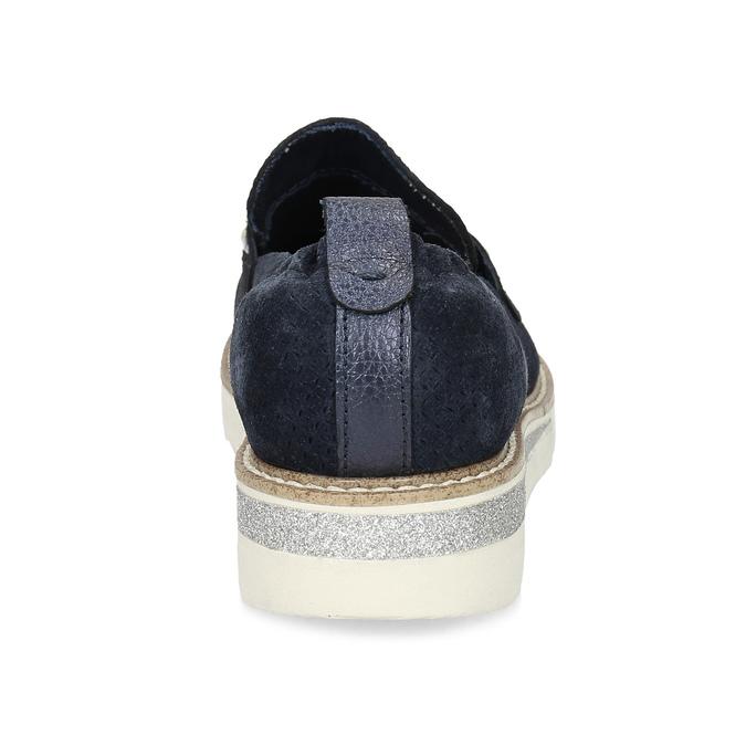Kožené mokasíny s perličkami modré bata, modrá, 533-9605 - 15