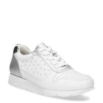 Bílo-stříbrné kožené dámské tenisky bata, bílá, 544-1600 - 13
