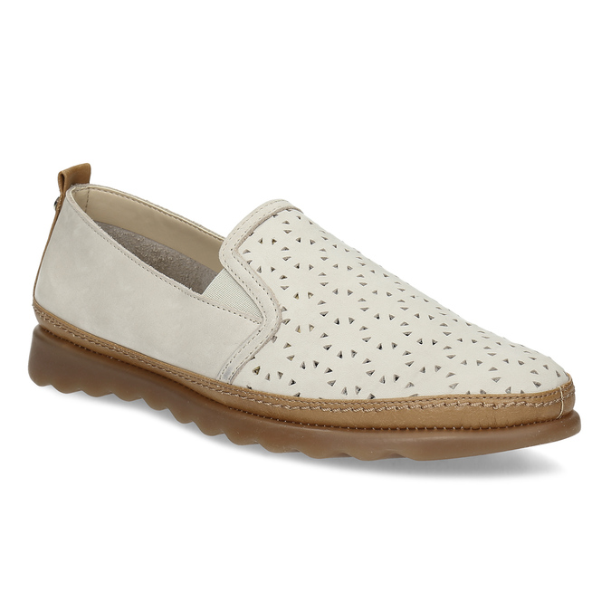 Béžová kožená Slip-on obuv s perforací comfit, béžová, 516-8614 - 13