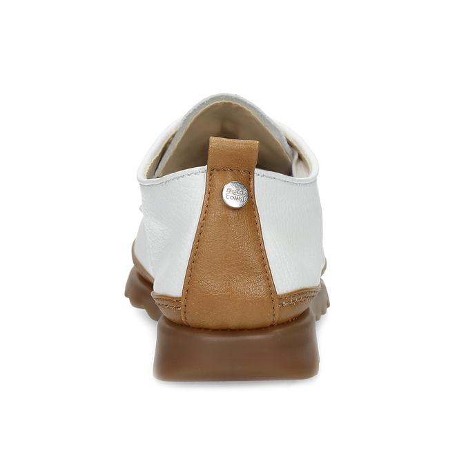 Bílé kožené tenisky s hnědými detaily comfit, bílá, 516-8616 - 15