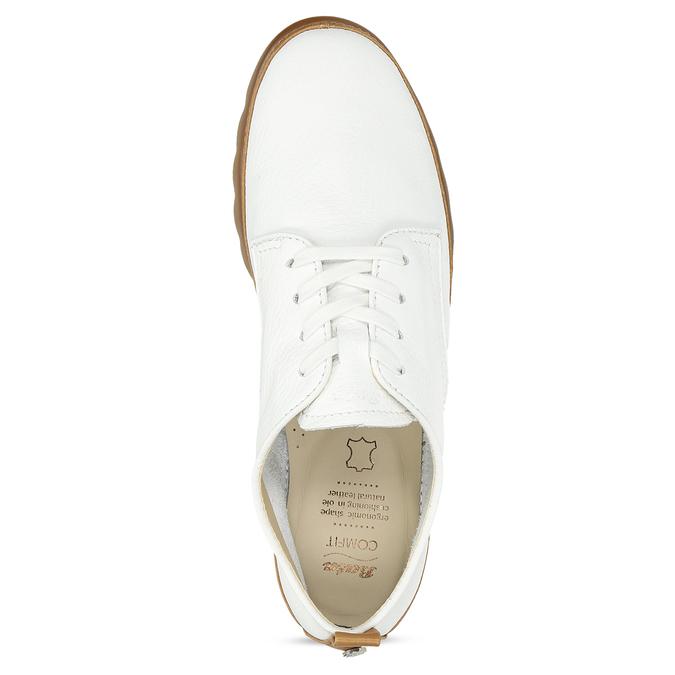 Bílé kožené tenisky s hnědými detaily comfit, bílá, 516-8616 - 17