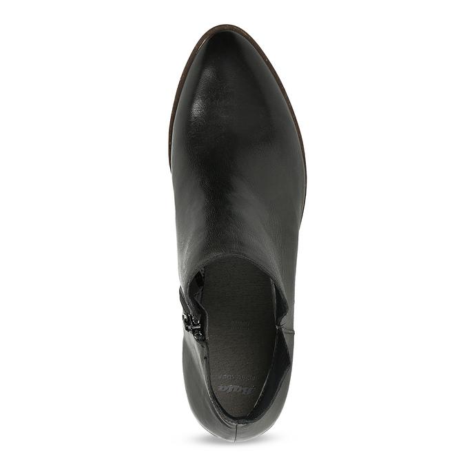 Černé kožené kotníčkové kozačky bata, černá, 526-6666 - 17