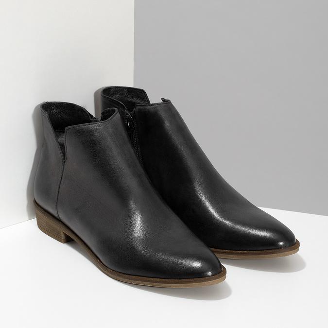 Černé kožené kotníčkové kozačky bata, černá, 526-6666 - 26