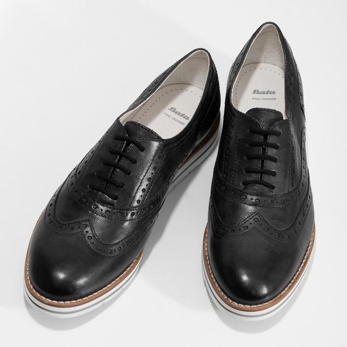 Dámské kožené Oxford polobotky černé bata, černá, 546-6620 - 16