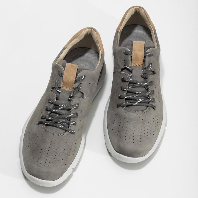 Pánské šedé kožené tenisky s perforací bata-light, šedá, 846-2722 - 16