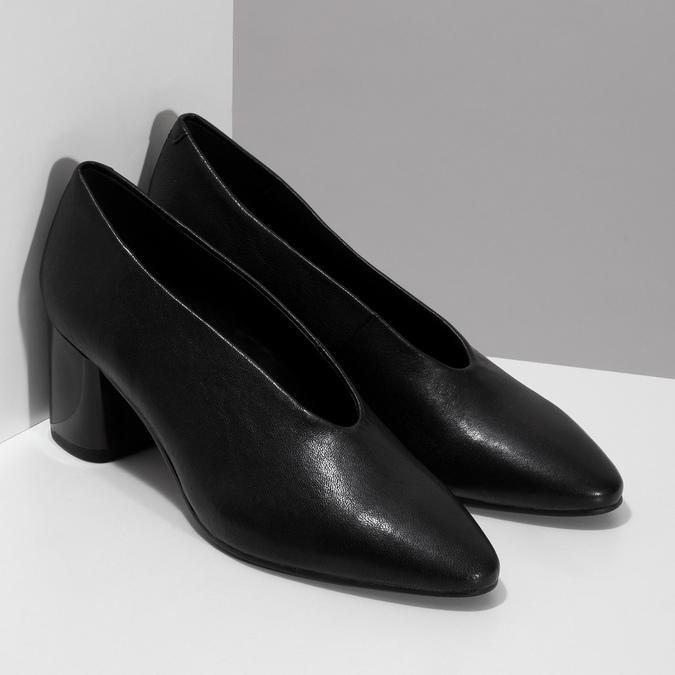 Kožené černé lodičky na stabilním podpatku vagabond, černá, 724-6094 - 26