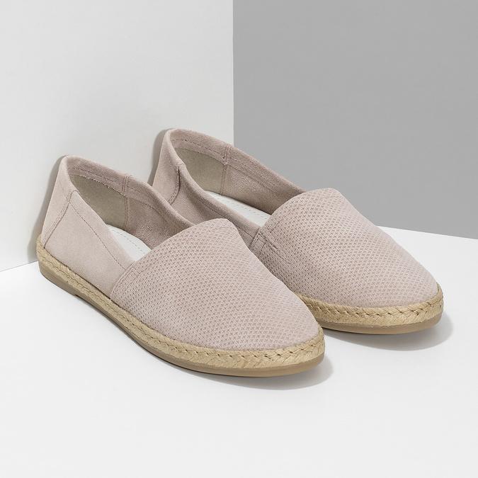 Dámské kožené espadrilky růžové bata, růžová, 533-5602 - 26