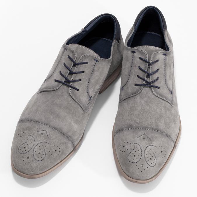 Šedé kožené polobotky s brougue zdobením bata, šedá, 823-2654 - 16