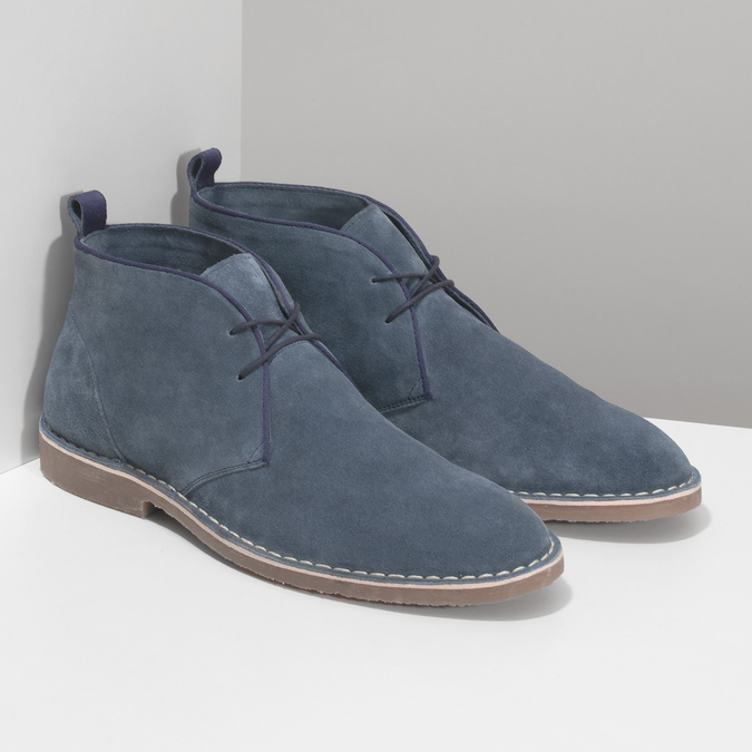 Pánské kožené Desert Boots modré bata, modrá, 823-9655 - 26