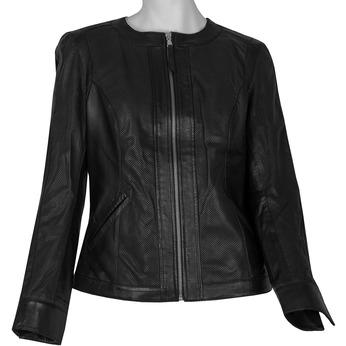 Dámská černá kožená bunda s perforací bata, černá, 974-6122 - 13