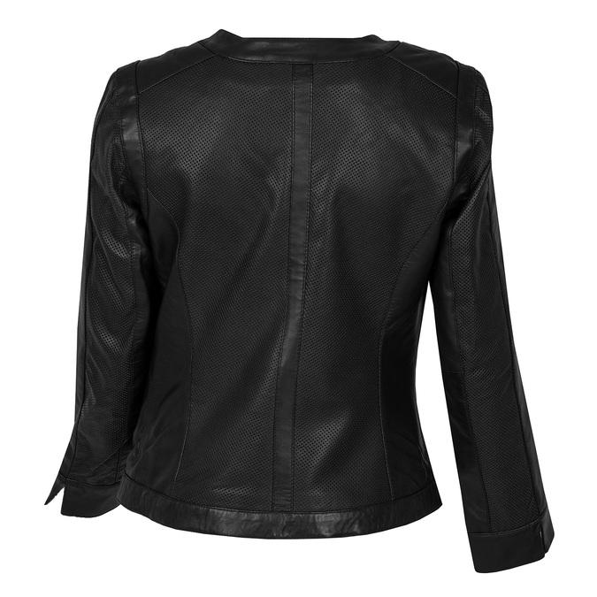 Dámská černá kožená bunda s perforací bata, černá, 974-6122 - 26