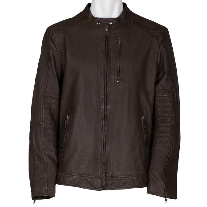 Hnědá pánská kožená bunda na zip bata, hnědá, 974-4158 - 13