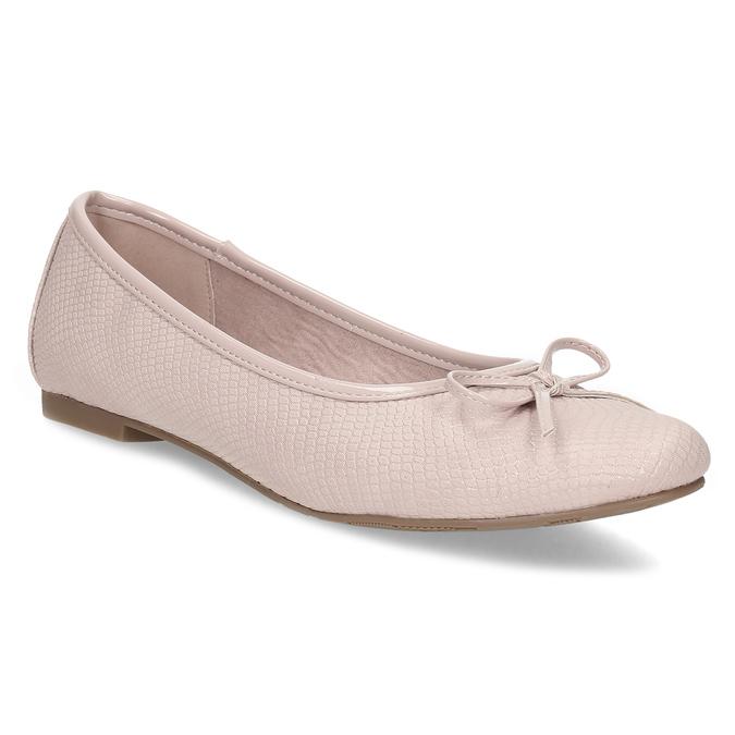 Růžové dámské baleríny s mašlí bata, růžová, 521-8651 - 13