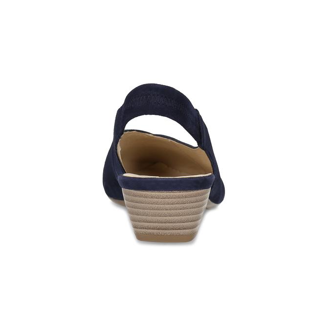 Kožené modré lodičky s otevřenou patou gabor, modrá, 663-9604 - 15