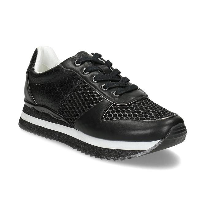 Černé dámské tenisky s výraznou podešví bata-light, černá, 521-6647 - 13