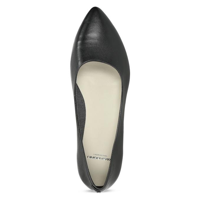 Černé kožené baleríny do špičky vagabond, černá, 524-6078 - 17