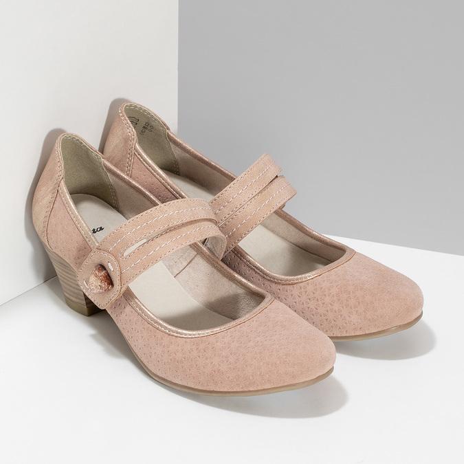 Růžové dámské lodičky z broušené kůže bata, růžová, 623-5646 - 26
