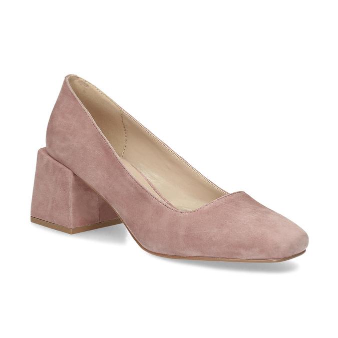 Růžové dámské lodičky z broušené kůže bata, růžová, 623-5648 - 13