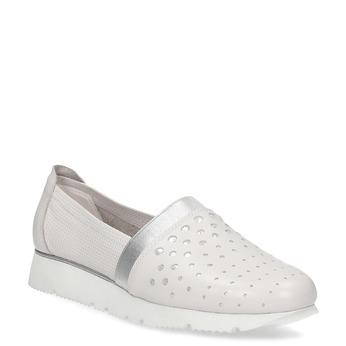 Bílé kožené dámské mokasíny bata, bílá, 516-1622 - 13