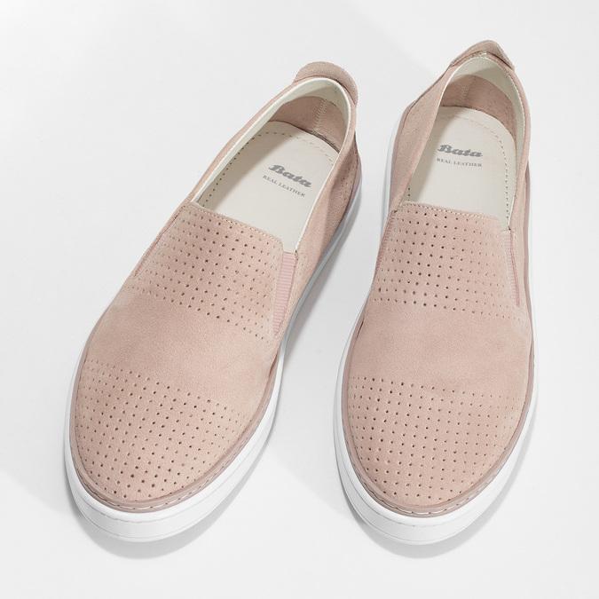 Růžové kožené slip-on tenisky bata, růžová, 533-5601 - 16