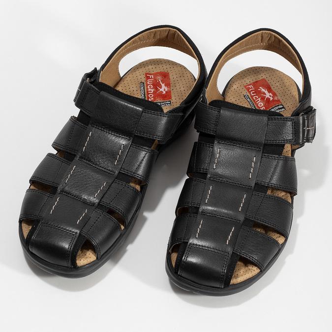 Hnědé sandály pánské fluchos, černá, 864-6635 - 16
