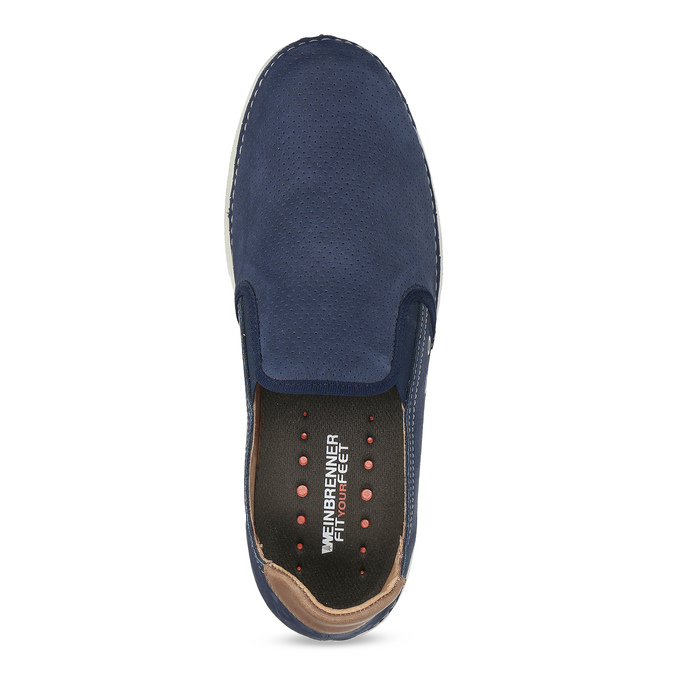 Pánské slip-on boty s perforací weinbrenner, modrá, 836-9687 - 17