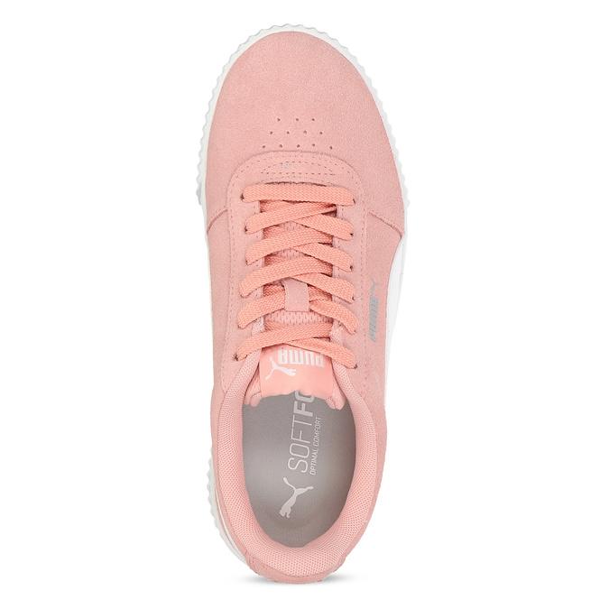 Růžové kožené tenisky s bílými detaily puma, růžová, 503-5188 - 17