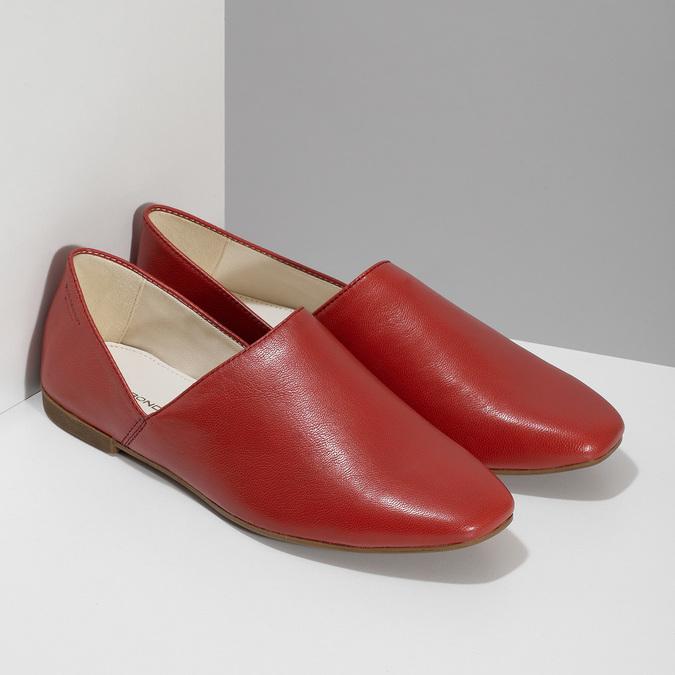 Dámské červené kožené Loafers vagabond, červená, 524-5079 - 26