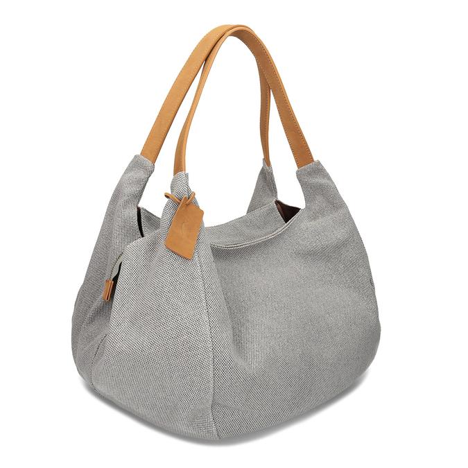 Šedá kabelka s hnědými detaily bata, šedá, 969-2868 - 13