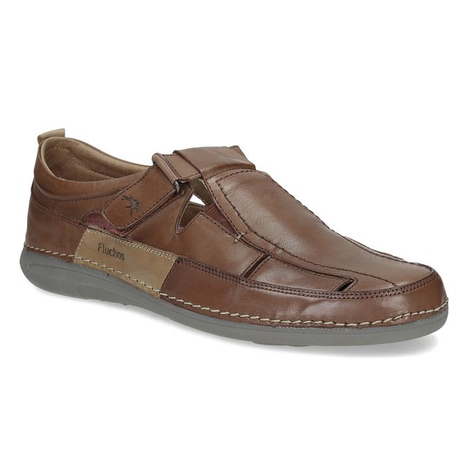 Kožené sandály hnědé fluchos, hnědá, 856-3621 - 13
