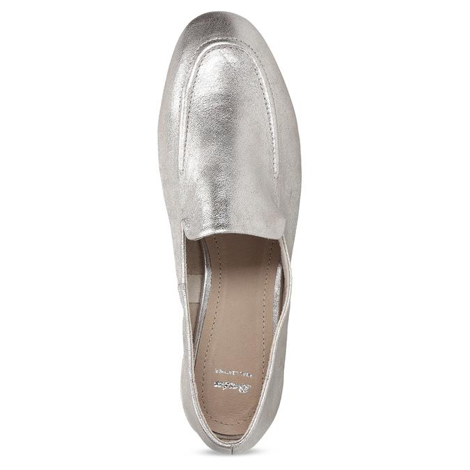 Dámské stříbrné kožené mokasíny bata, stříbrná, 518-5605 - 17