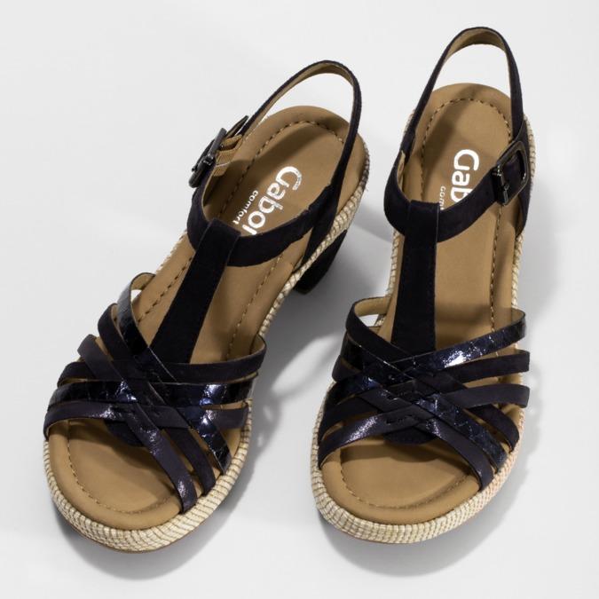 Dámské sandály na podpatku gabor, modrá, 663-6601 - 16