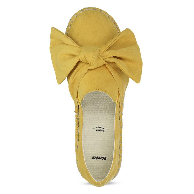 Žluté dámské espadrilky s mašlí bata, žlutá, 559-8607 - 17