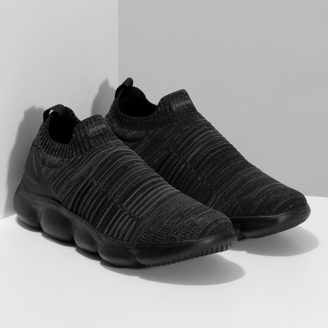 Černé pánské kotníčkové tenisky z úpletu power, černá, 809-6235 - 26