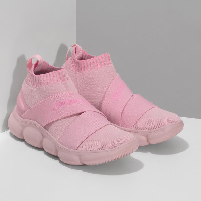 Kotníčkové růžové dámské tenisky z úpletu power, růžová, 509-5237 - 26