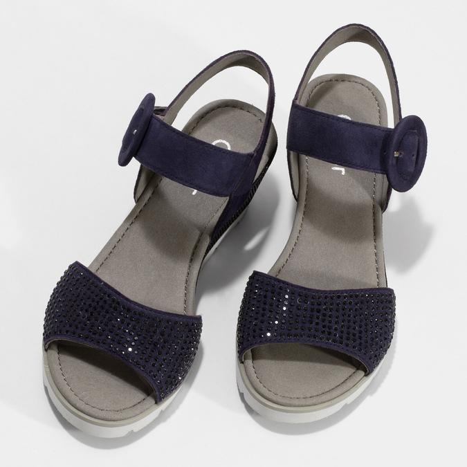 Modré dámské kožené sandály na platformě gabor, modrá, 663-9606 - 16