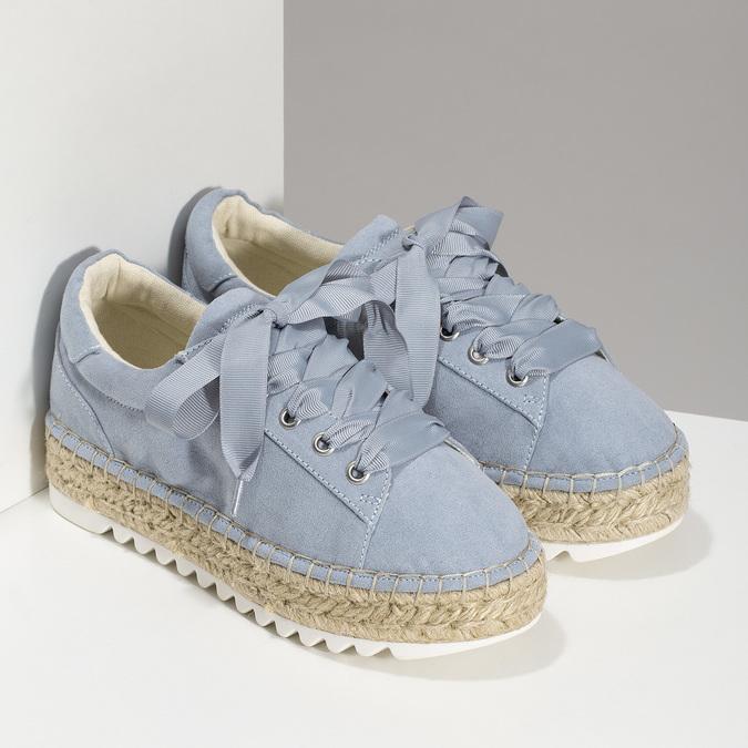 Modré dámské tenisky na přírodní flatformě bata, modrá, 559-9606 - 26