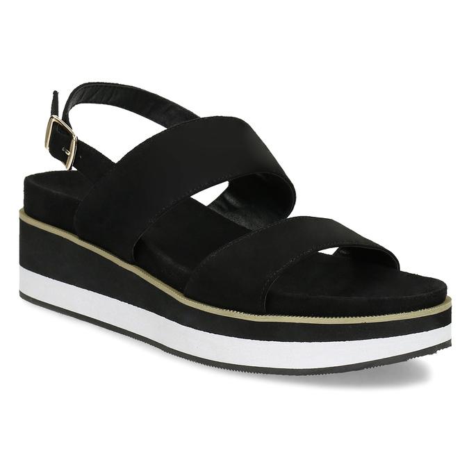 Dámské černé sandály na pruhované podešvi bata, černá, 561-6632 - 13