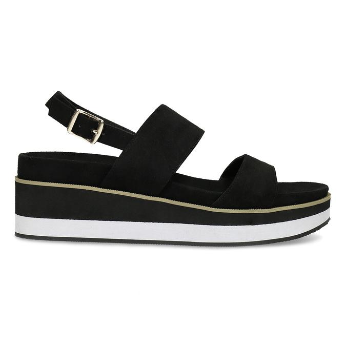 Dámské černé sandály na pruhované podešvi bata, černá, 561-6632 - 19
