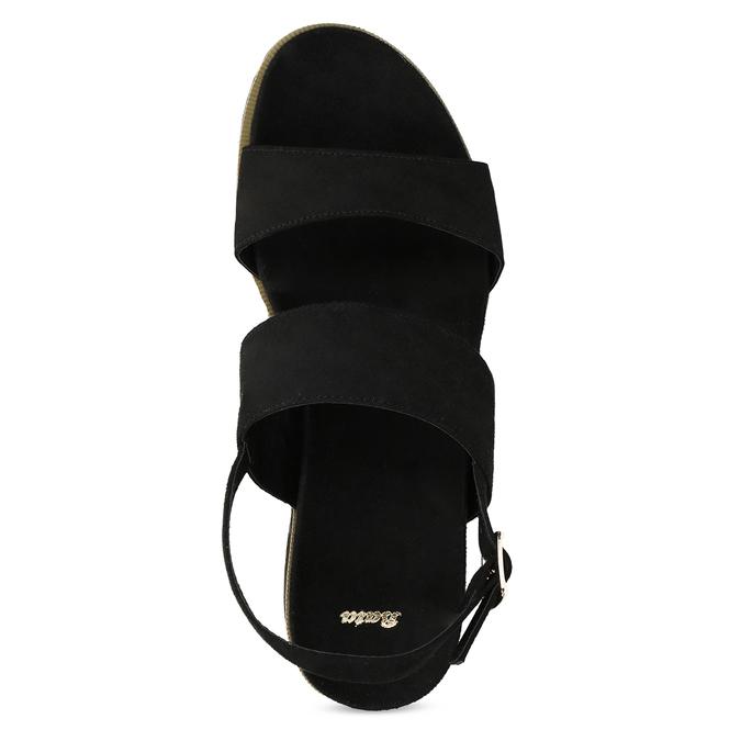 Dámské černé sandály na pruhované podešvi bata, černá, 561-6632 - 17
