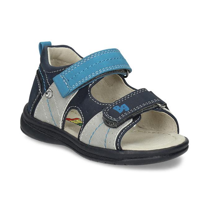 Modré dětské sandály s výrazným prošitím bubblegummers, modrá, 161-9613 - 13
